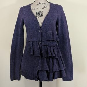 Anthropologie Moth Button Cardigan Ruffle Purple S